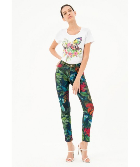 Denim With Floral Pattern Fracomina