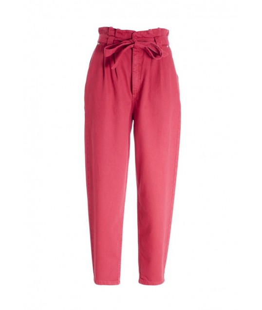 Carrot Paper Bag Trousers In Cotton Satin Fracomina