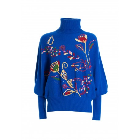 Regular Sweater With Floral Jacquard And Sequins Fracomina