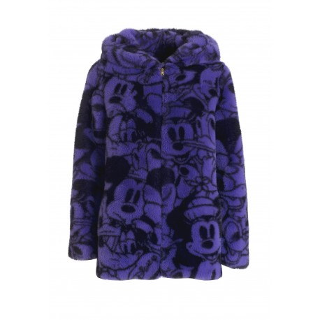 Wide Jacket In Eco Fur With Disney Fracomina Print