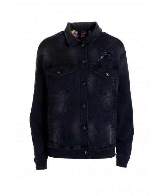 Over Jacket In Black Denim With Dark Wash Fracomina
