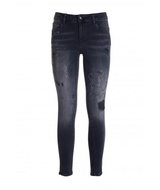 Skinny Jeans In Black Denim With Dark Wash Fracomina