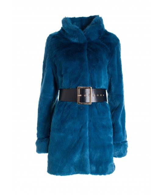 Regular Coat In Eco Fur Fracomina
