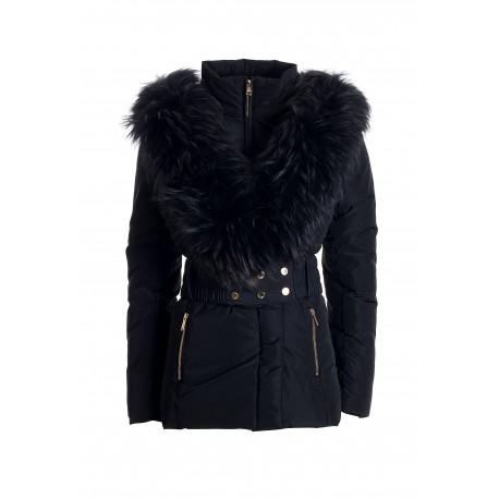 Regular Down Jacket With Racoon Fur Insert Fracomina
