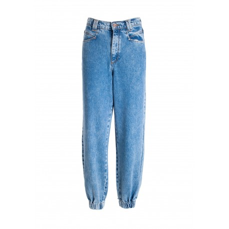 Carrot Jeans In Denim With Bleached Wash Fracomina