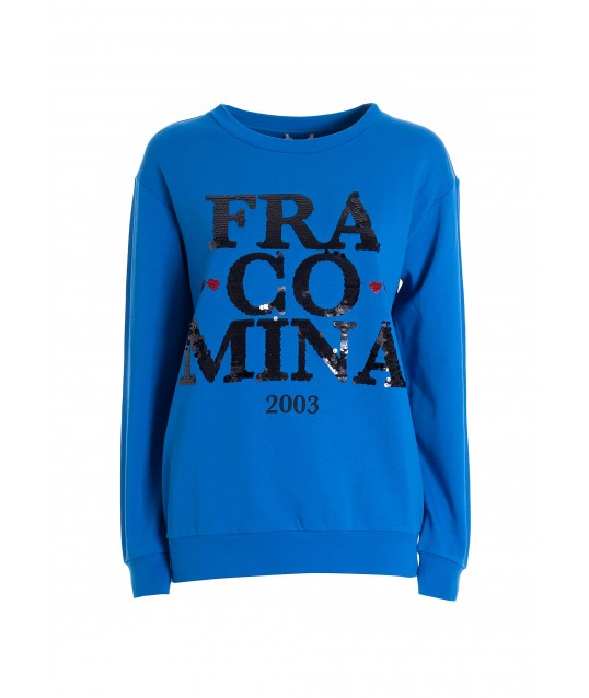 Wide Sweatshirt With Logo In Sequins Fracomina