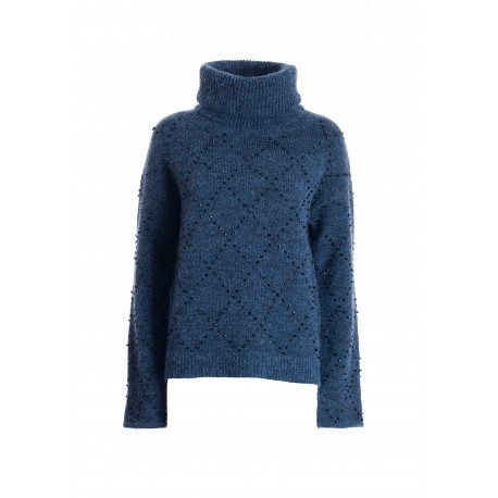 Wide Sweater With Rhombus Motif In Bright Strass Fracomina