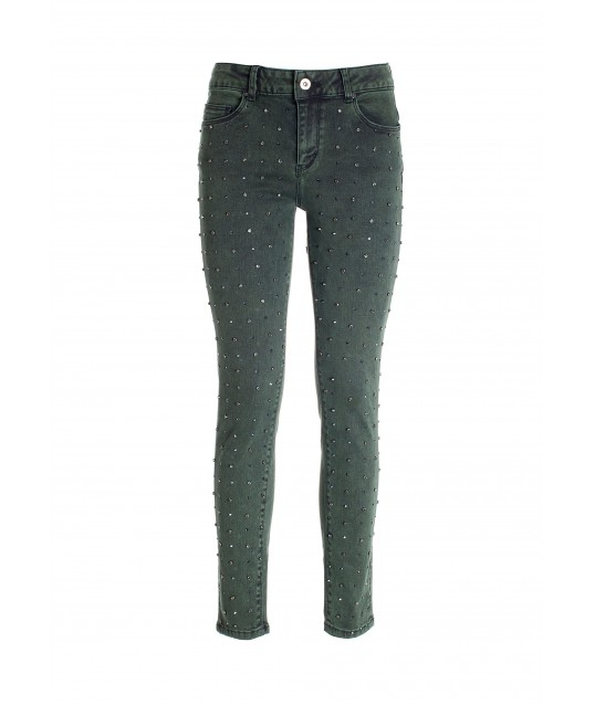 Push Up Effect Skinny Jeans In Denim Color With Stone Wash Fracomina