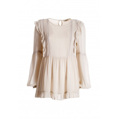 Wide Blouse In Georgette Fracomina