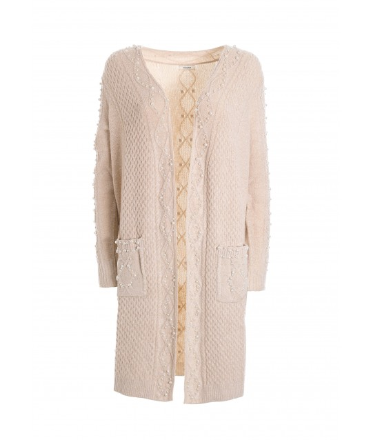 Regular Long Cardigan With Braids Pattern And Applied Pearls Fracomina