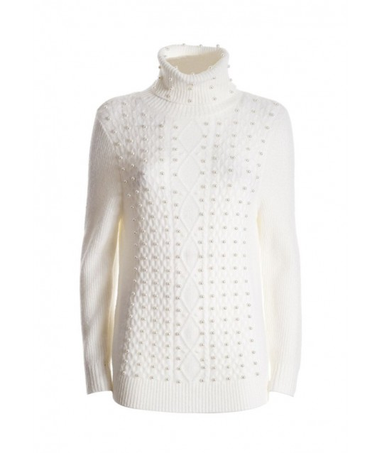 Regular Sweater With Braids Pattern And Applied Pearls Fracomina