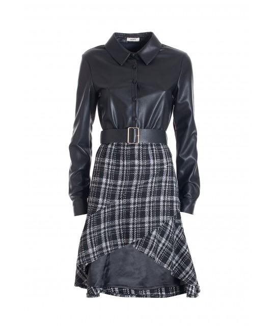 Regular Midi Dress In Mix Of Fracomina Fabrics