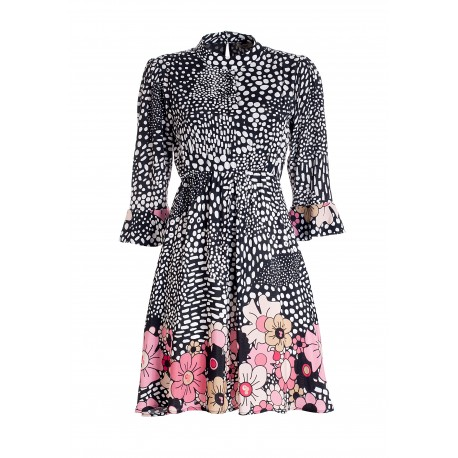 Regular Mini Dress In Viscose With Animalier Print With Flowers Fracomina