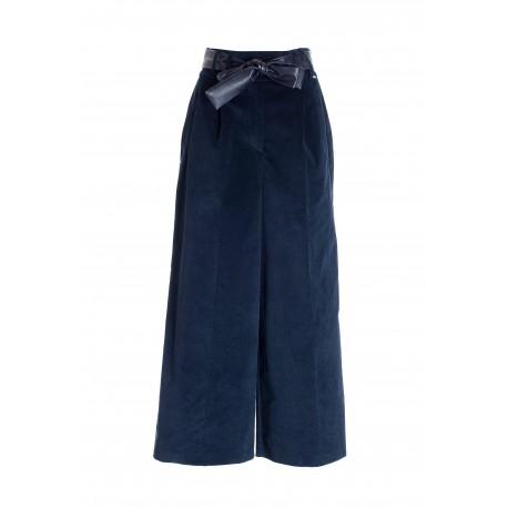 Wide Culotte Trousers In Fracomina Velvet