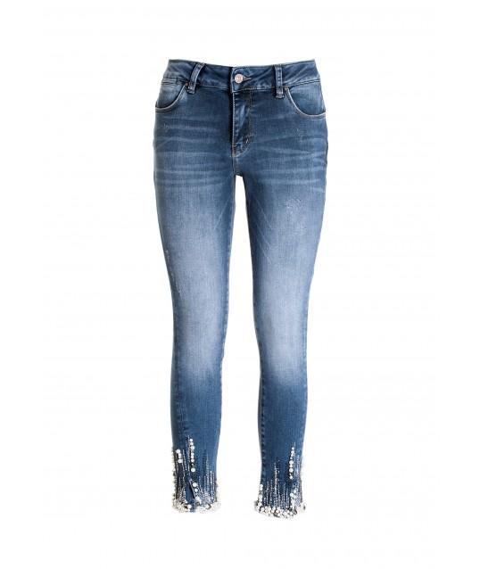Jeans Skinny Cropped Effetto Push Up In Denim Con Lavaggio Medio Fracomina
