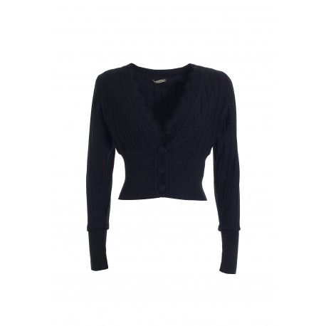 Cropped Cardigan With Lace Inserts On The Neckline Fracomina