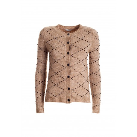 Tight-fitting Cardigan With Rhombus Pattern In Bright Beads Fracomina
