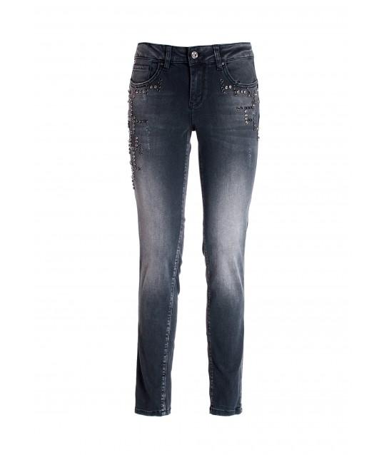 Jeans Skinny Effetto Push Up In Denim Nero Con Lavaggio Scuro Fracomina