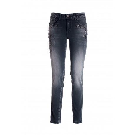 Push Up Effect Skinny Jeans In Black Denim With Dark Wash Fracomina