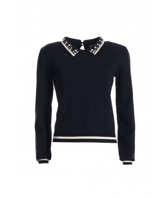 Regular Sweater With Long Puff Sleeves Fracomina