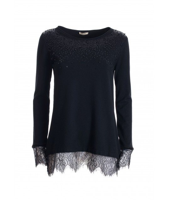 Wide Sweater With Applied Sequins Fracomina