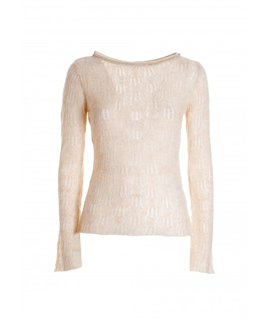 Tight-fitting Transparent Sweater With Floral Motif Fracomina