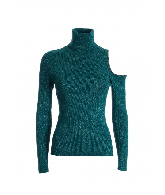 Tight-fitting Lurex Sweater With High Neck Fracomina