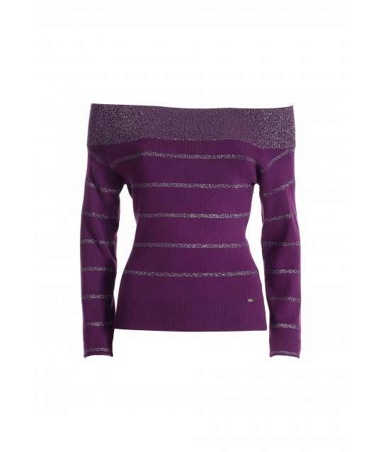 Fitted Sweater With Lurex Stripes Fracomina