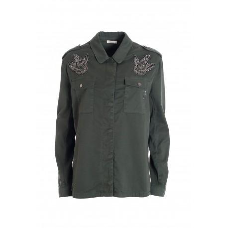 Camicia Regular In Denim Con Lavaggio Medio Fracomina