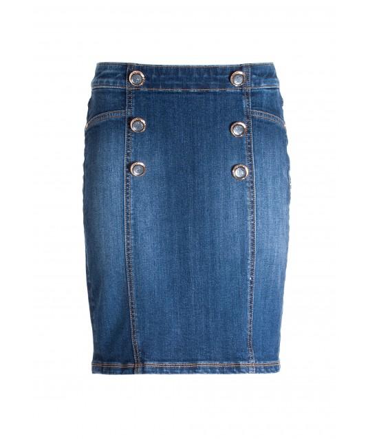 Mini Tight-fitting Pencil Skirt In Denim With Medium Wash Fracomina