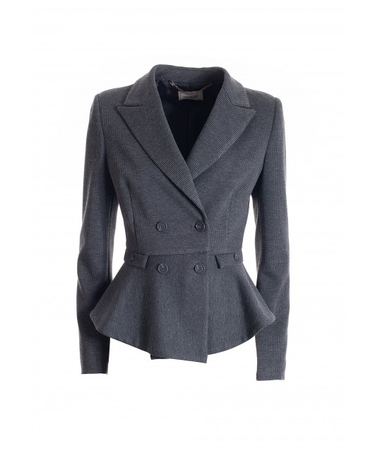 Fitted Double-Breasted Blazer In Piede De Poule Fabric Fracomina