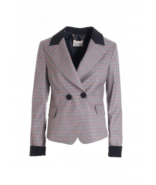 Regular Double-Breasted Blazer In Piede De Poule Fabric Fracomina
