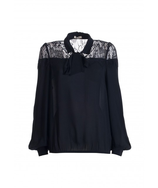 Wide Blouse With Lace Insert Fracomina