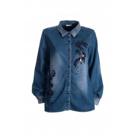 Wide Denim Shirt With Dark Wash Fracomina