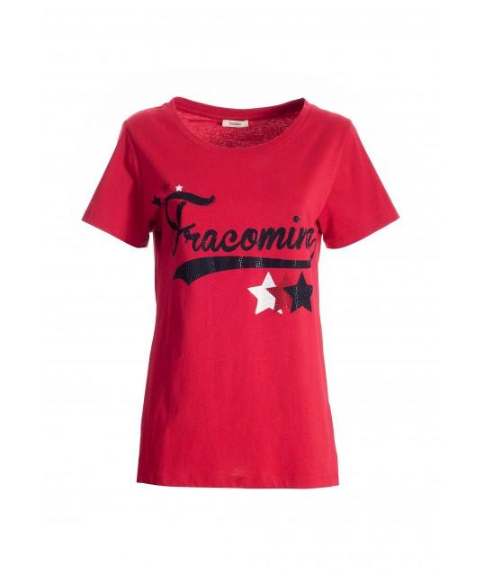 T-Shirt Regular In Jersey Di Cotone Con Stampa Logo E Strass Luminosi Fracomina