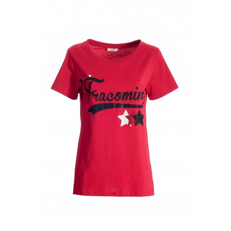 Regular T-Shirt In Cotton Jersey With Logo Print And Bright Strass Fracomina