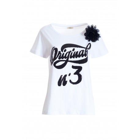 T-Shirt Regular In Jersey Di Cotone Con Stampa Con Paillettes Fracomina