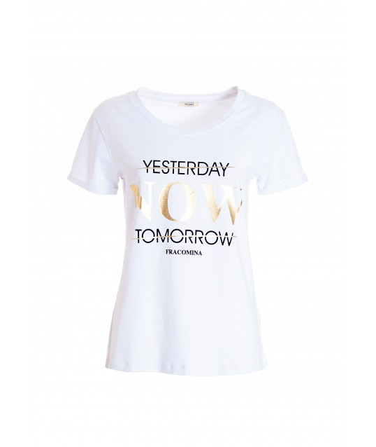 Regular T-Shirt In Cotton Jersey With Fracomina Lettering Print