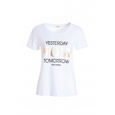 T-Shirt Regular In Jersey Di Cotone Con Stampa Lettering Fracomina
