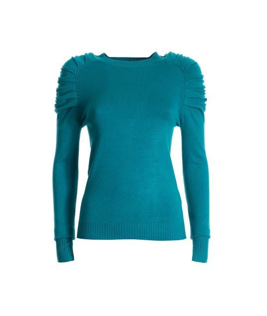 Tight-fitting Sweater With Long Sleeves With Curl On The Shoulders Fracomina