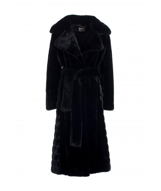 Regular Long Coat In Eco Fur Fracomina