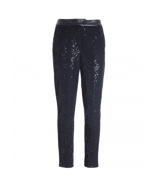 Cigarette Pants With Luminous Sequins Fracomina