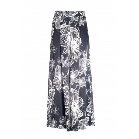 Flare Culotte Trousers With Floral Pattern Fracomina