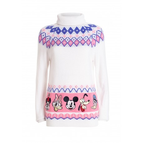 Regular Sweater With Angora And Wool And With Disney Jacquard Fracomina