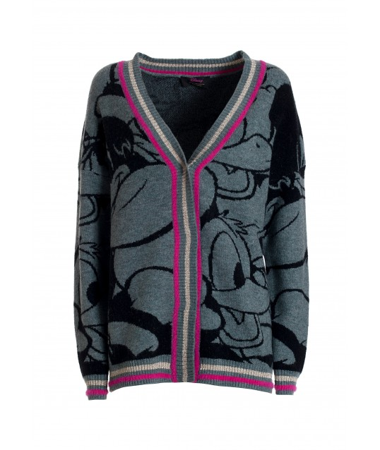 Wide Cardigan With Jacquard Disney Characters Fracomina