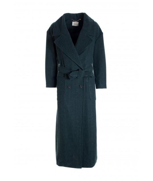 Cappotto Regular Doppiopetto Lungo In Tweed Fracomina