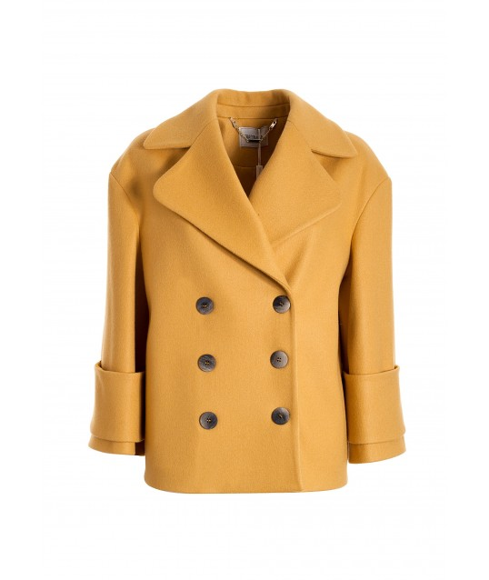 Regular Double-Breasted Caban Coat In Fracomina Cloth