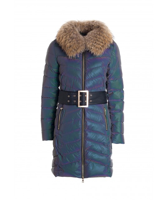 Regular Long Down Jacket In Nylon Cangiate Quilted Fracomina