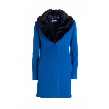 Regular Mini Coat In Fracomina Cloth