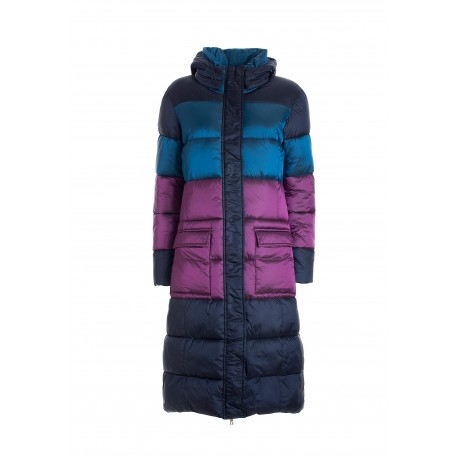 Regular Long Down Jacket In Multicolor Quilted Nylon Fracomina
